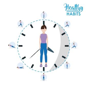Mulher com conceito de estilo de vida de hábitos saudáveis