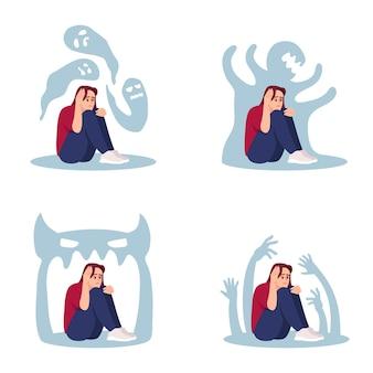 Mulher com conjunto de ilustrações vetoriais plana de psicose. menina estressada, assombrada por kit de personagens de desenhos animados isolados de demônios internos. pressão emocional, depressão, ansiedade. transtorno mental, esquizofrenia