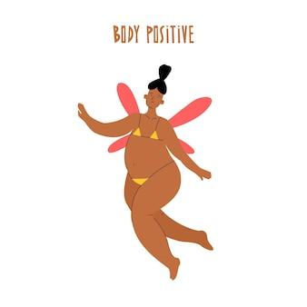Mulher com corpo positivo em maiô em estilo moderno