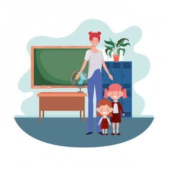 Mulher, com, crianças, de, costas escola