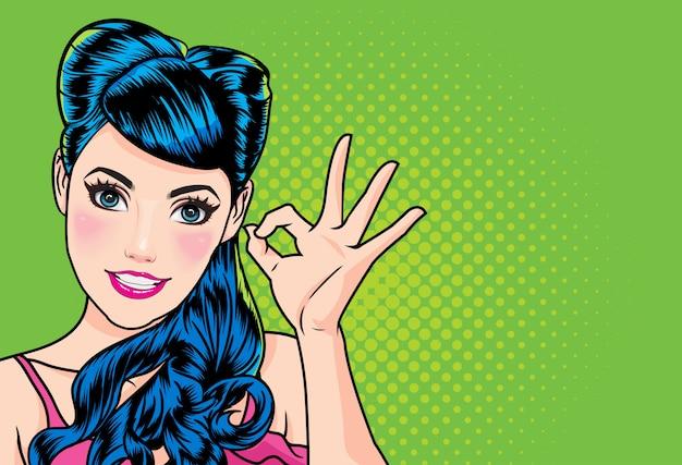 Mulher, com, dedo, aprovação gesto, ação