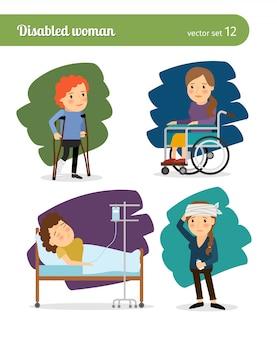 Mulher com deficiência e personagens de vetor mulher doente