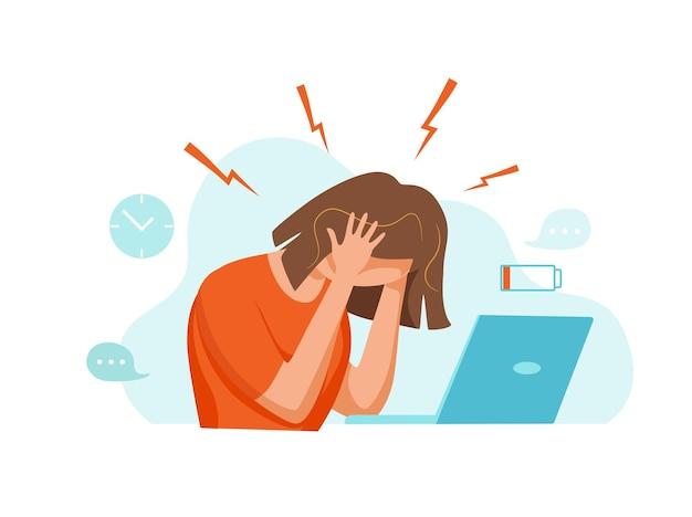 Mulher com dor de cabeça, enxaqueca, segurando a cabeça ilustração vetorial dos desenhos animados estressada, infeliz, chateada