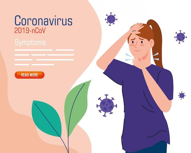 Mulher com dor de garganta doente de coronavírus 2019 ncov