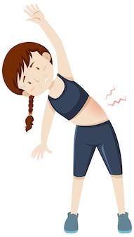 Mulher com dores musculares devido ao treino