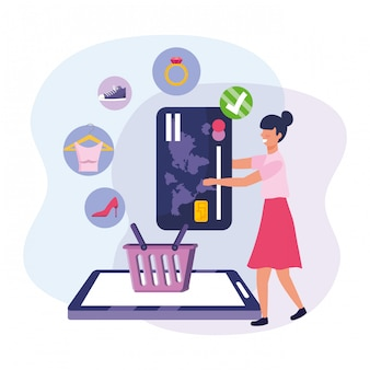 Mulher com ecommerce smartphone e cartão de crédito