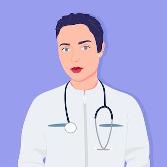 Mulher com estetoscópio em uniforme médico. médico bonito de cabelo escuro.