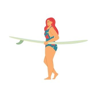 Mulher com excesso de peso carregando uma ilustração vetorial plana de prancha de surf isolada