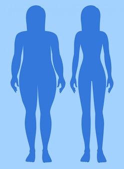 Mulher com excesso de peso e saudável peso