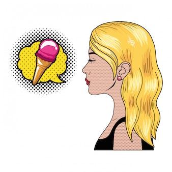 Mulher, com, fala, bolha, sobre, cômico