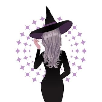 Mulher com fantasia de bruxa de halloween vista traseira