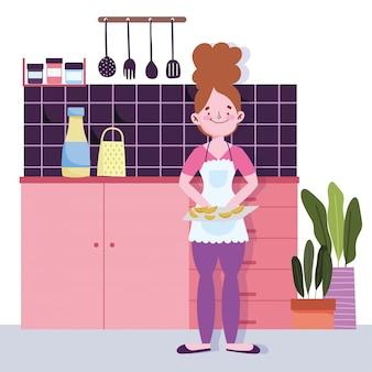 Mulher com fatias de frutas na tábua na cozinha
