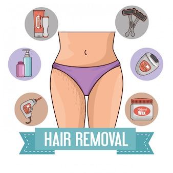 Mulher com ferramentas de remoção de pêlos