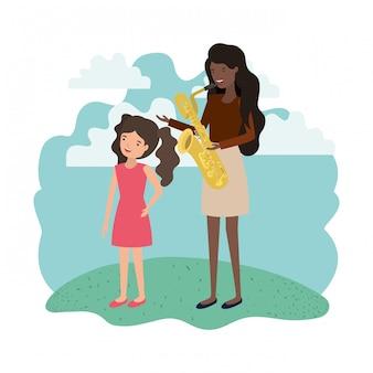 Mulher, com, filha, e, saxophone, avatar, personagem