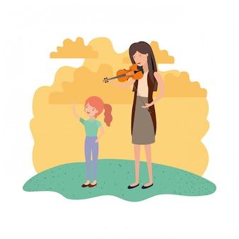 Mulher, com, filha, e, violino, avatar, personagem