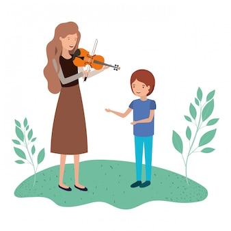 Mulher, com, filho, e, violino, avatar, personagem