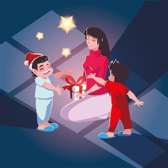 Mulher com filhos na cena da noite de natal