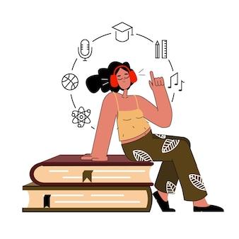 Mulher com fones de ouvido, ouvindo podcast de áudio. a garota está sentada na pilha de livros