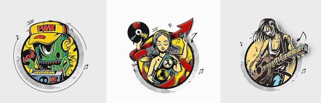Mulher com fundo de instrumentos musicais desenho de ilustração vetorial