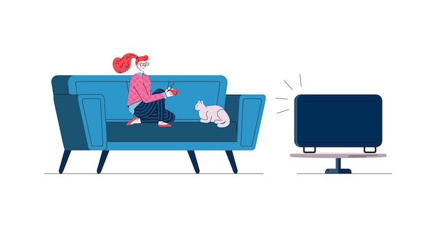 Mulher com gato em casa assistindo tv desenho ilustração em vetor doodle isolada