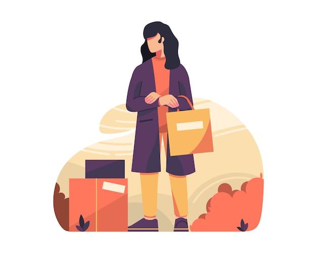 Mulher com gráficos de ilustração vetorial de saco shoping