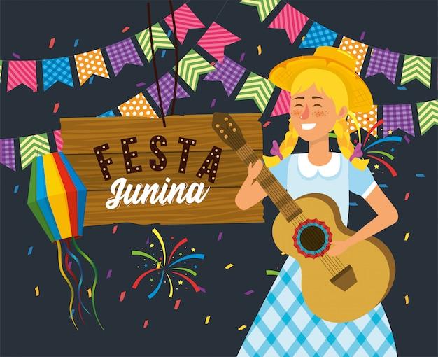Mulher, com, guitarra, e, madeira, emblema, com, fogos artifício