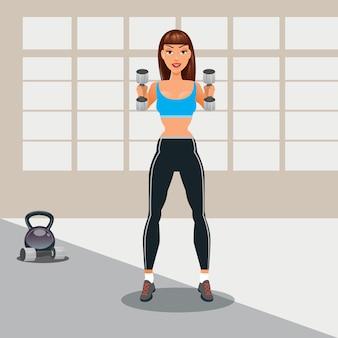 Mulher com halteres. garota fitness. estilo de vida saudável. ilustração vetorial
