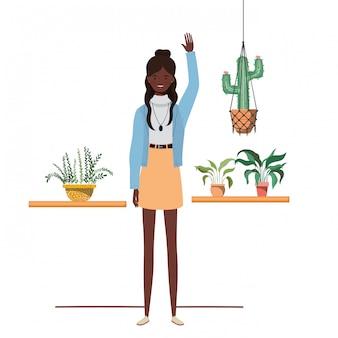 Mulher, com, houseplant, e, macrame, cabides
