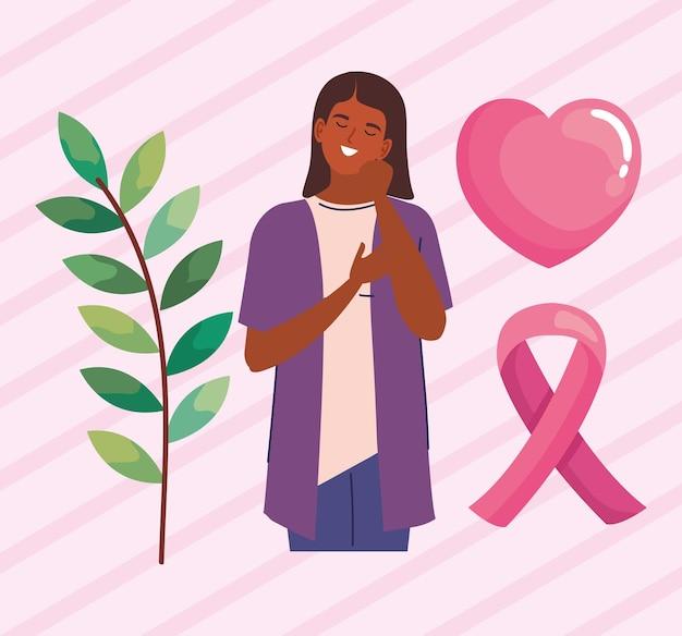 Mulher com ícones de câncer de mama