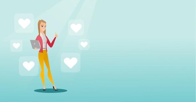 Mulher com ícones de laptop e coração.