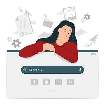 Mulher com ilustração da página de pesquisa da web