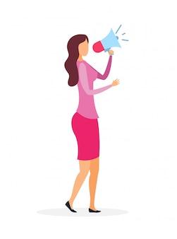 Mulher com ilustração de alto-falante