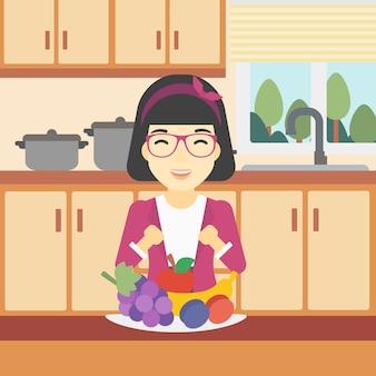 Mulher com ilustração vetorial de frutas frescas.
