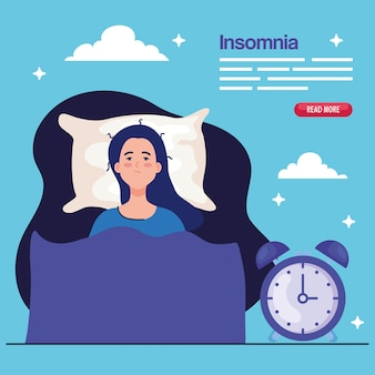 Mulher com insônia na cama com design de relógio, tema de sono e noite