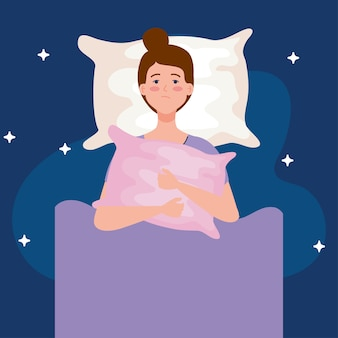 Mulher com insônia na cama com design de travesseiro, tema de sono e noite