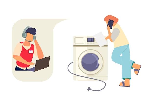 Mulher com instrução de máquina de lavar, ligando para o suporte técnico da loja de eletrodomésticos