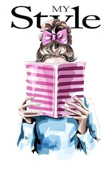 Mulher com laço no cabelo lendo livro