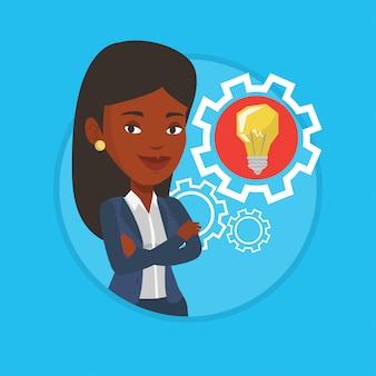 Mulher com lâmpada de ideia de negócio na engrenagem.