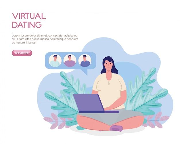 Mulher com laptop conversando