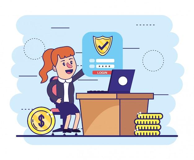 Mulher, com, laptop, e, segurança digital, escudo