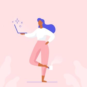 Mulher com laptop em pé em pose de ioga. caráter calmo, pacífico freelancer trabalhando remotamente. ilustração plana.