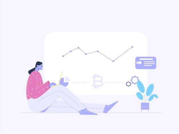 Mulher com laptop olhando para ilustração plana do processo de lucro de bitcoin