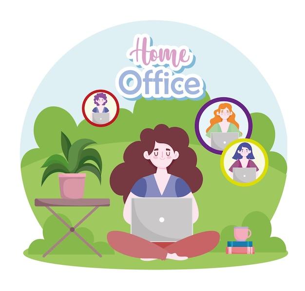 Mulher com laptop trabalhando, conversando com colegas, ilustração de home office