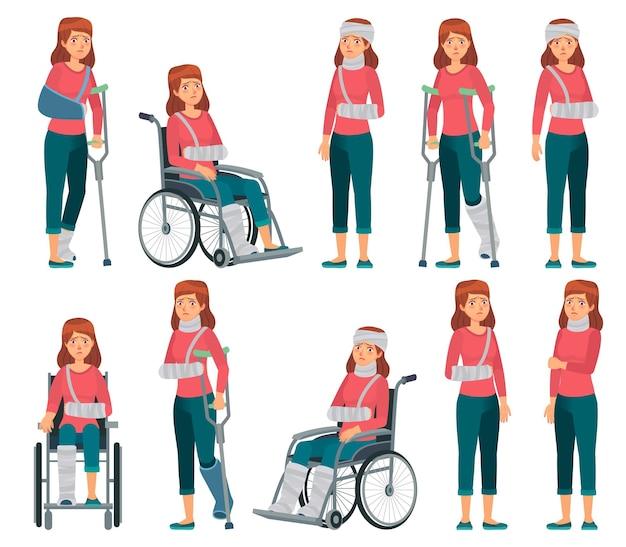 Mulher com lesão. pernas quebradas em gesso, lesões no braço e no pescoço. Vetor Premium