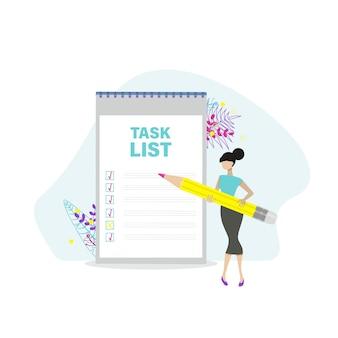 Mulher com lista de verificação e lista de tarefas. gerenciamento de projetos, planejamento e pontuação do conceito de tarefas concluídas. ilustração em vetor plana.