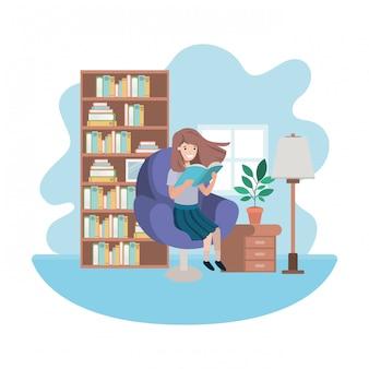 Mulher com livro no personagem de avatar de sala de visitas