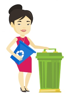 Mulher com lixeira e lata de lixo.