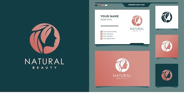 Mulher com logotipo de beleza natural com estilo de cor gradiente criativo e design de cartão de visita