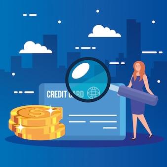 Mulher com lupa e ícones de finanças