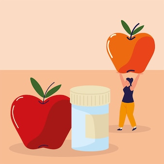 Mulher com maçãs e remédios